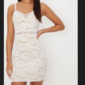 White Strappy Lace Contrast Bodycon Dress